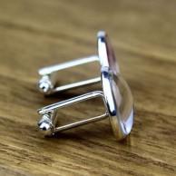 Burcunuza Özel İsim Yazılabilir Gümüş Kaplama Kol Düğmesi
