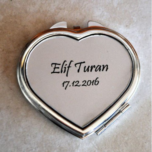 İsim veya Mesaj Işlenebilen Metal Kalp Ayna