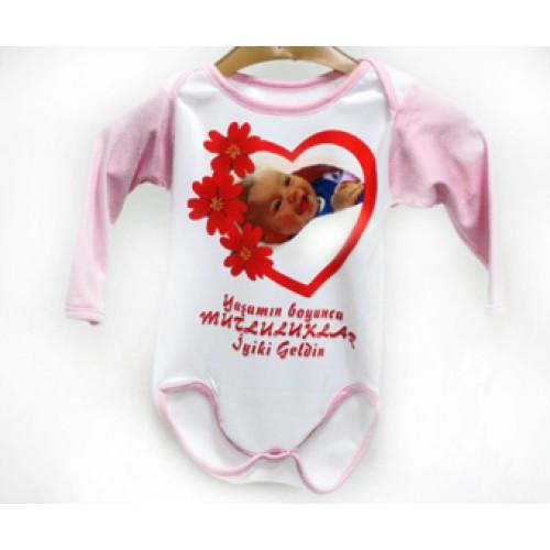 Resim Baskılı Bebek Tulumu Pembe