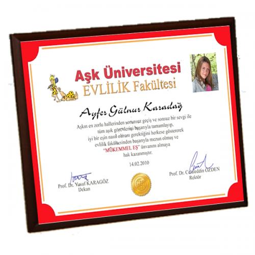 Mükemmel Eş Diploması - Ön Yüzü Metal Ahşap Plaket