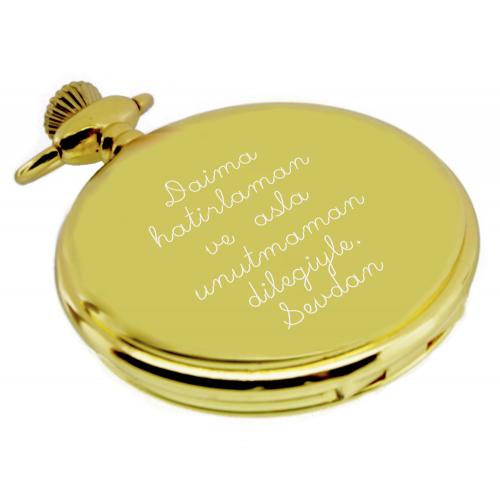 Kişiye Özel Parlak Altın Renkli Köstekli Cep Saati