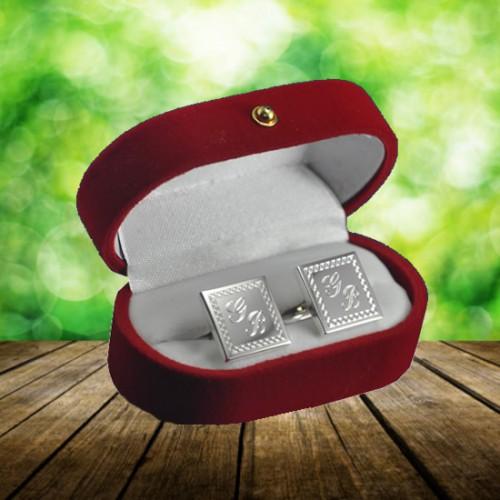 İsim Baş Harfleri Yazılabilen Greek Desenli Gümüş Kaplama Kol Düğmesi