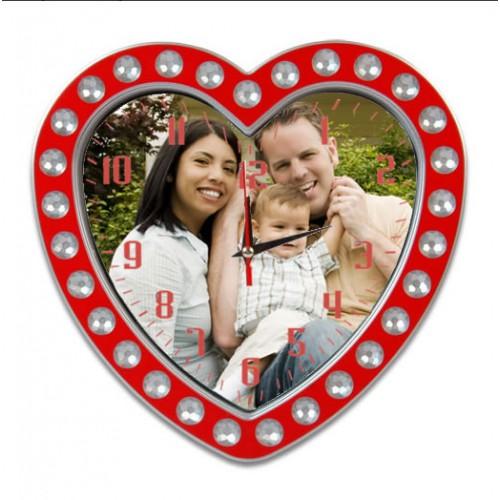 Resim Baskılı Kalp Foto Duvar Saati