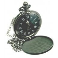 Kişiye Özel Siyah Renkli Köstekli / Zincirli Cep Saati - Yeni Model Küçük Boy