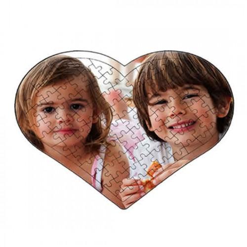 Resim Basılabilir 88 Parça Çerçeveli Ayaklı Ahşap Kalp Puzzle