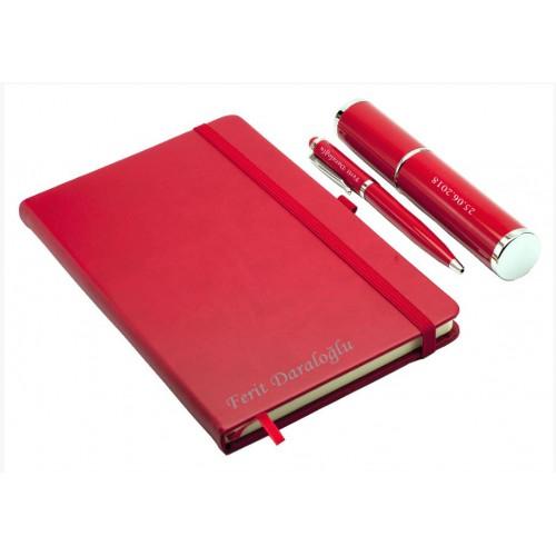 Kişiye Özel Defter ve Dokunmatik Kalem Seti - Kırmızı