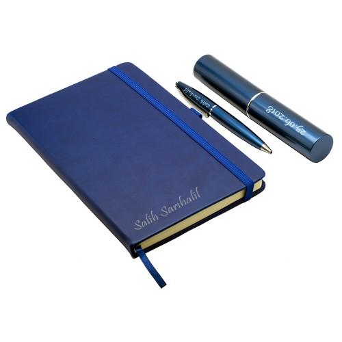 Kişiye Özel Mavi Defter ve Kalem Seti