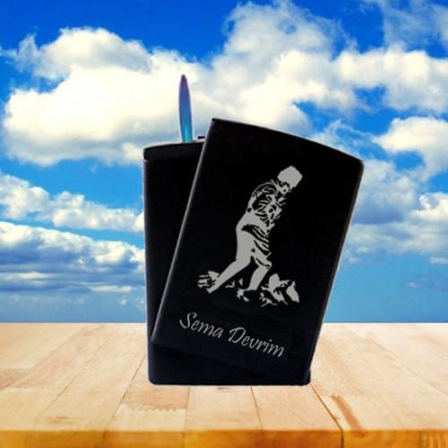 İsme Özel Kocatepe Atatürk Desenli Izgaralı Metal Siyah Çakmak