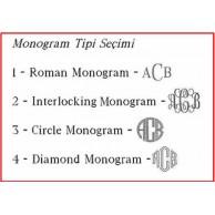 Monogram Yazılı Gümüş Kaplama Yuvarlak Kol Düğmesi