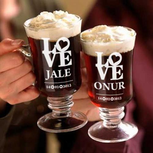 Çiftlere Hediyelik Love Temalı Irish Kahve Seti