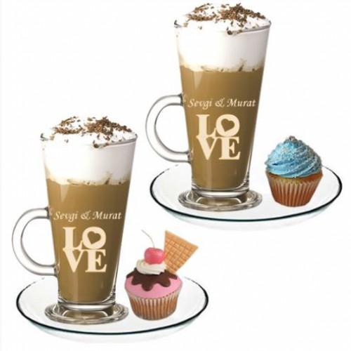 Kişiye Özel Love Temalı Latte Bardağı Seti