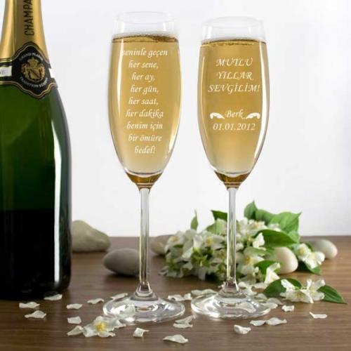Sevgiliye Mesajlı Şampanya Kadehi