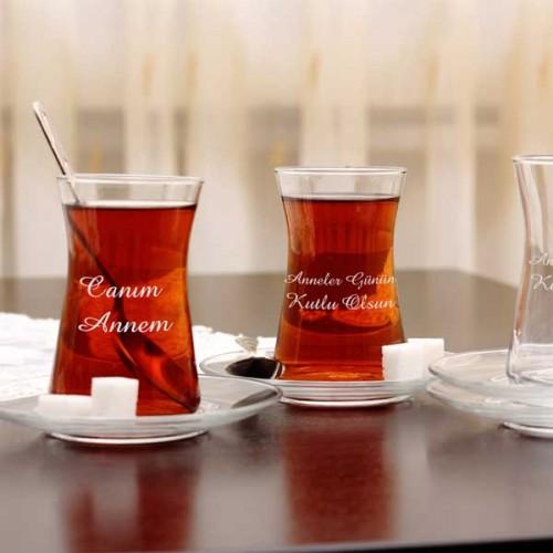 Kişiye Özel Heybeli Çay Bardağı Seti