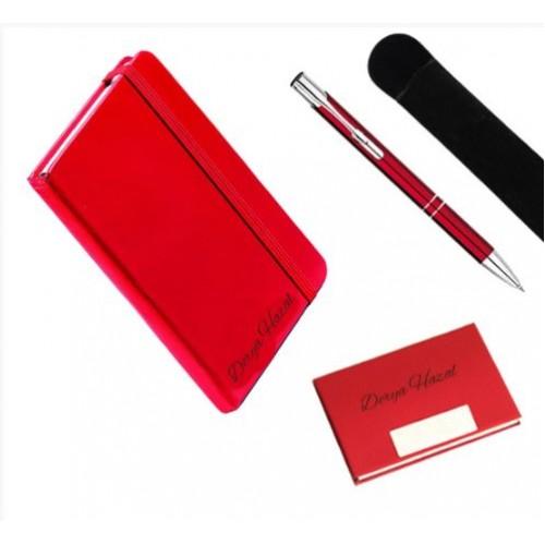 Kişiye Özel Deri Lastikli Defter, Kartvizitlik ve Kalem Seti - Kırmızı