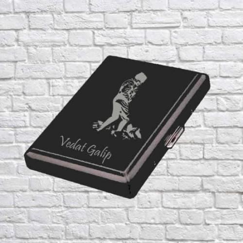 İsme Özel Kocatepe Atatürk Desenli Siyah Metal Sigara Tabakası - Kısa Sigara