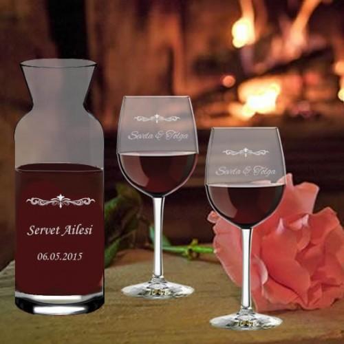 Kişiye Özel Karaf ve Şarap Bardağı Seti