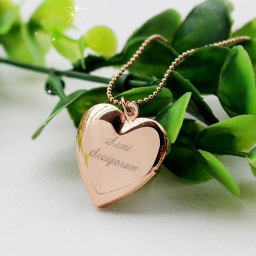 Kişiye Özel Resim Konulabilen 18 Ayar Altın Kaplama Kalp Kolye