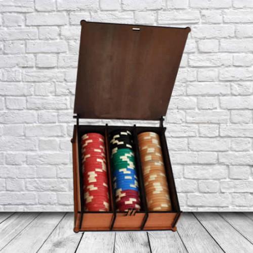 Kişiye ve İsme Özel Lazer Kesim Ahşap Poker Fiş Kutusu