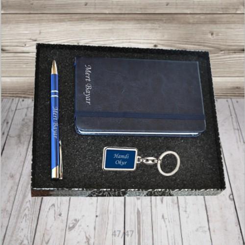 Kişiye ve İsme Özel Mavi Defter, Kalem ve Anahtarlık Seti - Kutu Mesajlı