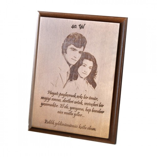 Resim İşlemeli Ahşap Plaket - Aşk Evlilik