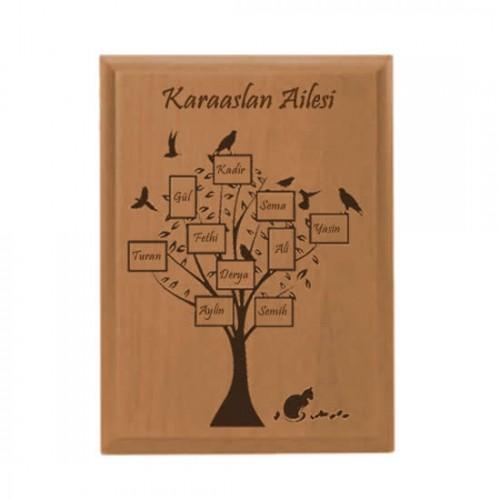 Kişiye Özel Aile Ağacı Ahşap Plaket