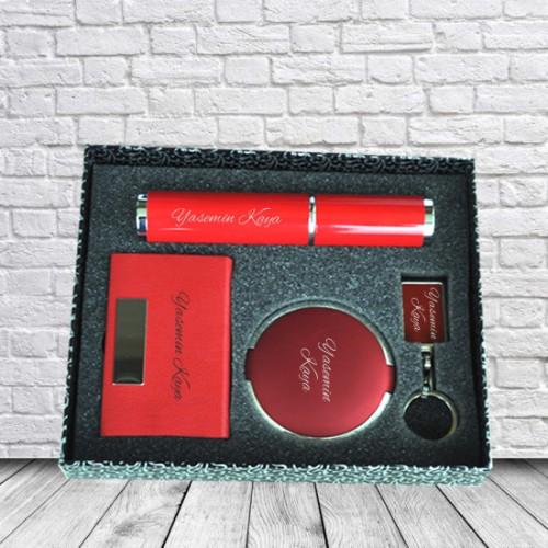 Kişiye ve İsme Özel Kırmızı Kutulu Kalem, Kartvizitlik, Ayna ve Anahtarlık Seti - Kutu Mesajlı