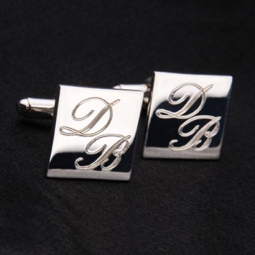 İsim Baş Harfleri Yazılabilen Gümüş Kaplama Kol Düğmesi